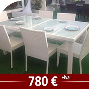 Tavolo in fibra cm 180 x cm 100 allungabile con n° 6 sedie in fibra